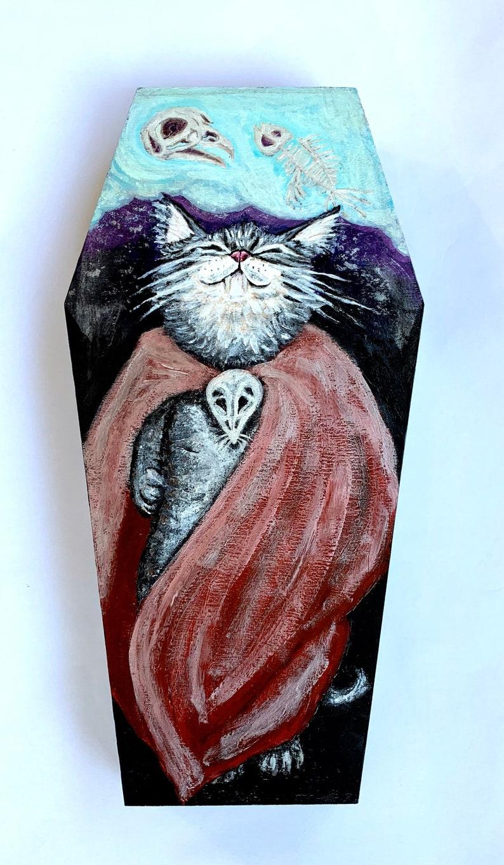 Vampire Kitten Painting Spooky Cat Art Vampurr Artwork image 0