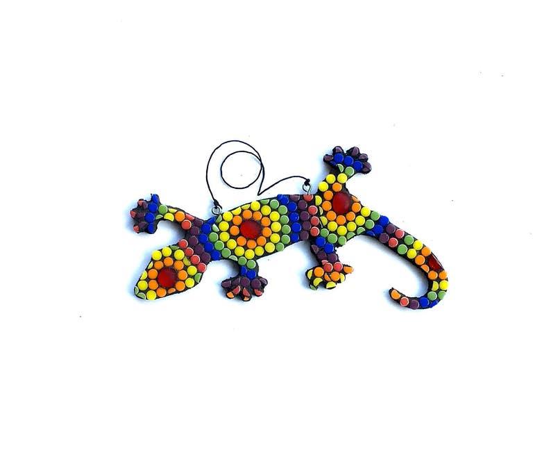 Rainbow Mosaic Lizard Gecko Glass Art Tie Dye Style Hippie image 0