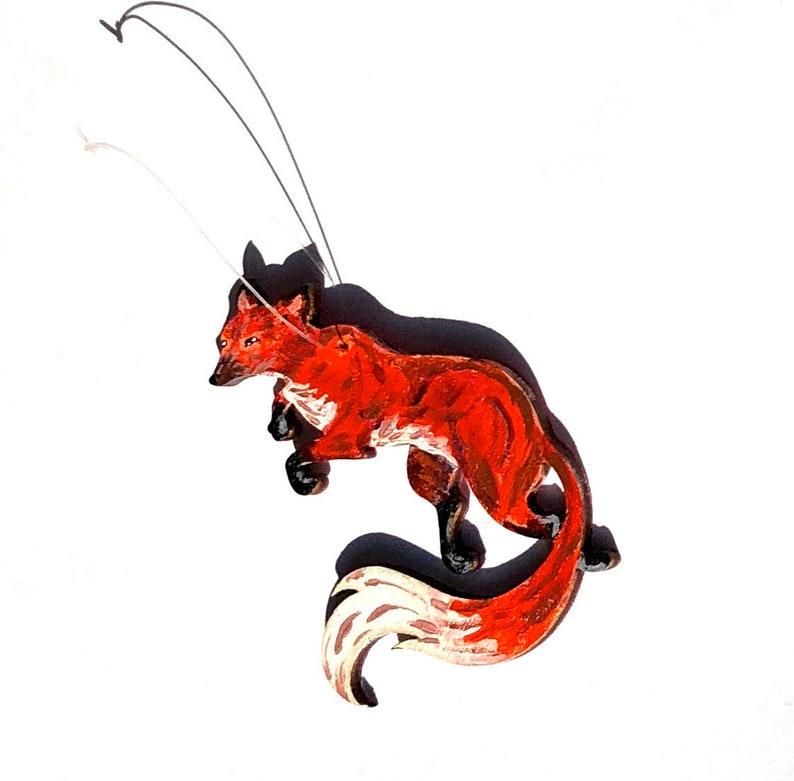 Fox Ornament Handmade OOAK Art Acrylic Painted Animal image 0