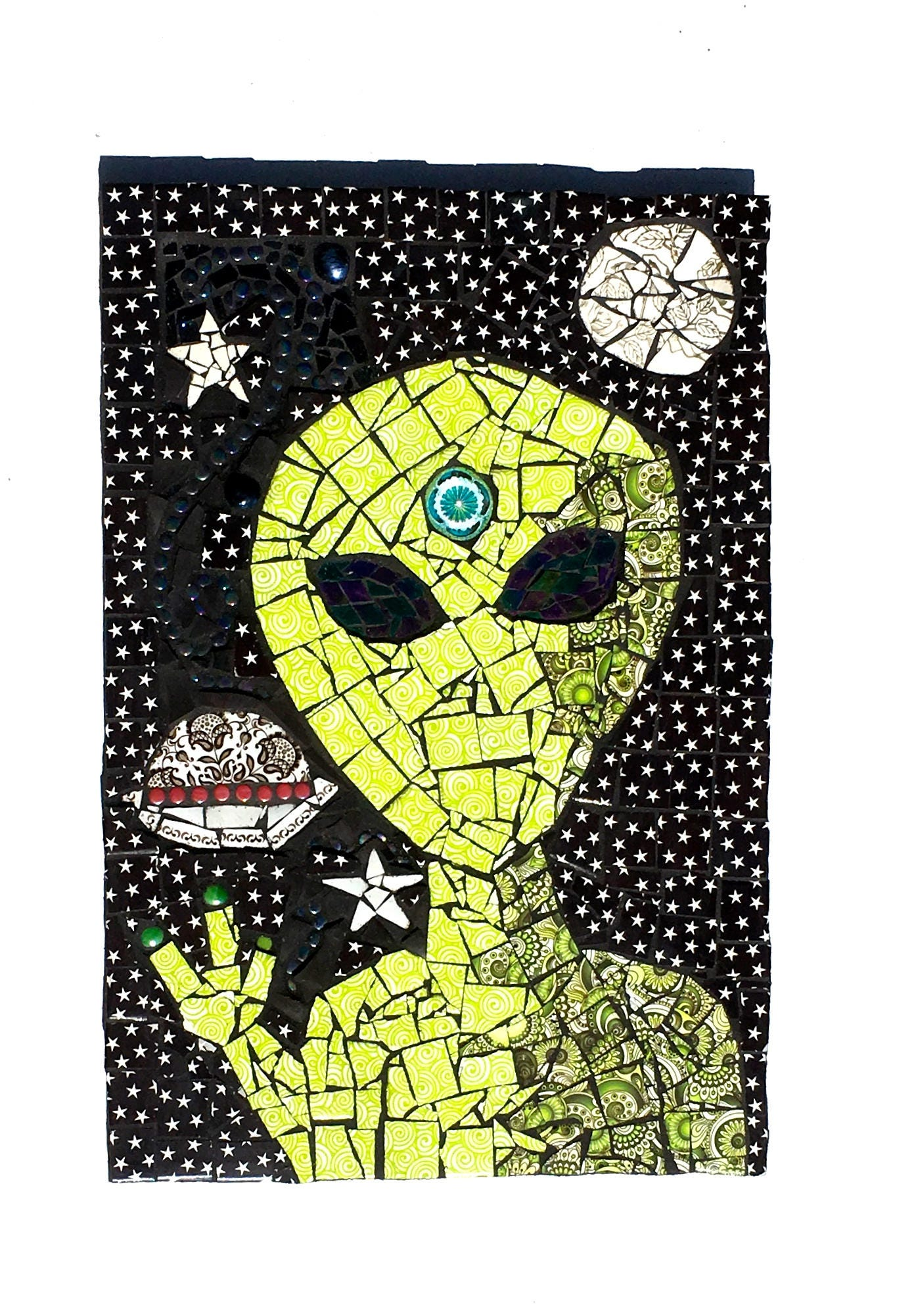 Alien Art Space Mosaic Weird Mixed Media UFO Decor Star | Etsy