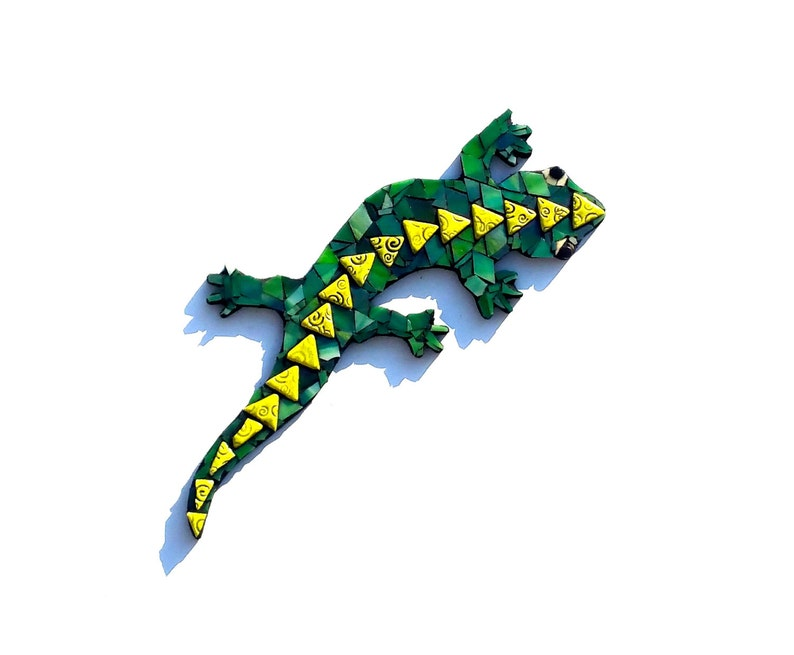 Mosaic Lizard Stained Glass Gecko Art Green Tropical Home image 0