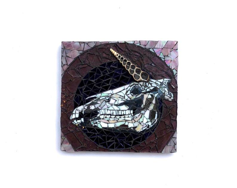 Unicorn Decor Magic Mosaic Skull Art Dark Artwork Unique image 0