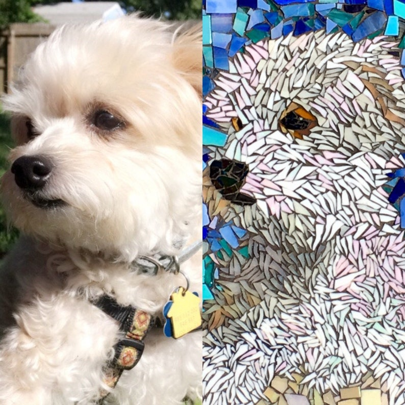 Custom Pet Portrait Mosaic Cat Dog Artwork Made to Order image 0