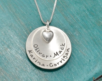 Necklace for Mom | Sterling Silver personalized mothers necklace with kids names and heart charm | 2 disc necklace