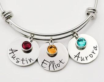 Personalized Mom bracelet Silver Aluminum Bracelet CuffBrace Angel Wings Mom Bracelet Mothers Day-Mom Gift