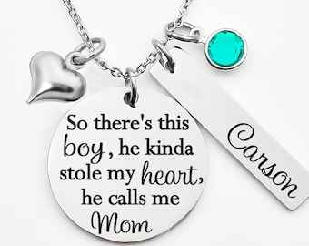 c2e4b34d6 Mothers necklace, necklace for mom, So there's this boy, he kinda stole my  heart, he calls me Mom, mothers day gift, new mom, gift from son