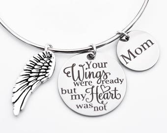 death of dad etsy 1945 Silver Quarter memorial adjustable bangle your wings were ready but my heart was not mom dad memorial bracelet in memory of
