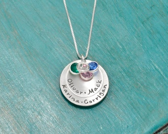 Necklace for Mom | Sterling Silver personalized mothers necklace with kids names and crystals | 2 disc necklace