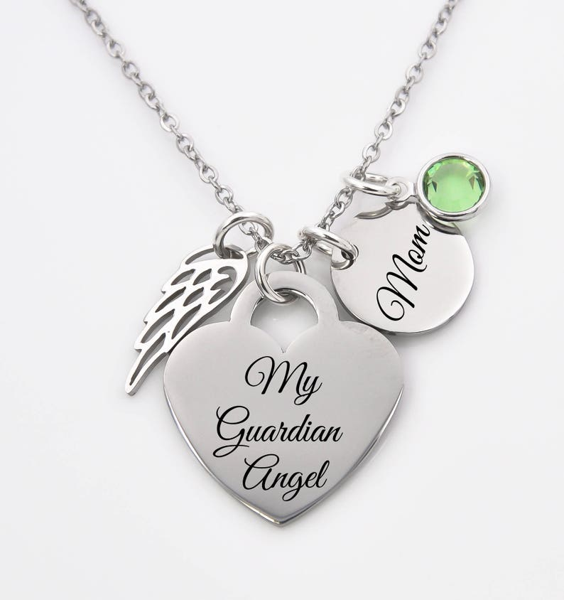 29b32cb2c8 My Guardian Angel Dad Mom or name memorial necklace loss | Etsy