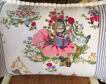 Vintage Barkcloth Mother Goose Pillow Cover W/Pleated Edge