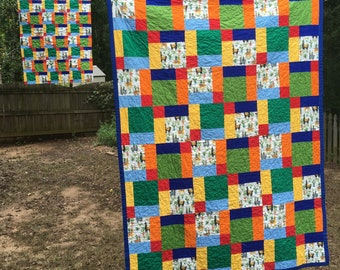 Llama Quilt, Lap quilt llama blanket, Disappearing 9 Patch quilt, llama gift, dolly and me set, doll blanket, finished quilt, toddler quilt