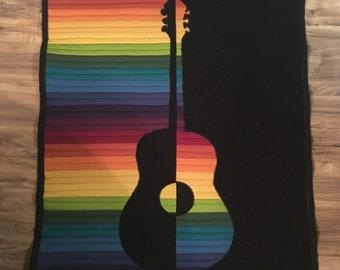Rainbow Guitar Wall Quilt