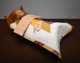 """18"""" Doll Bed Quilt, doll quilt handmade, doll blanket for 18"""" doll, doll accessories quilt, 18"""" doll accessories, doll room quilt"""