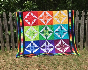 Rainbow Quilt, Mariner's Compass quilt rainbow, quilt wall home decor rainbow, finished quilt, LGBT gift, rainbow baby gift, ROYGBIV
