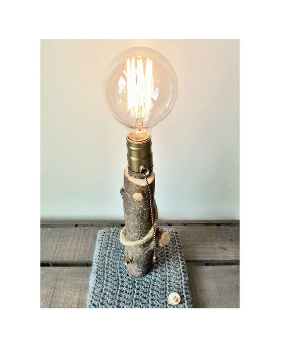 Edison Lamp Rustic Decor Unique Table Lamp Industrial: Edison Tree Lamp Industrial Natural Rustic Table Lamp With