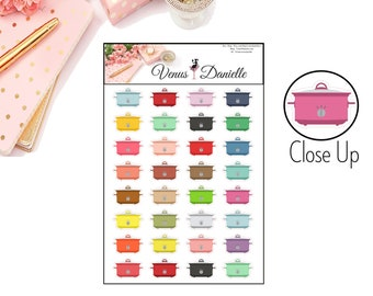 Crockpot Planner Stickers, Meal Planner, Slow Cooker Stickers, Crockpot, Rainbow Slow Cooker, Planner Stickers