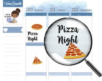 Pizza Night Planner Stickers, Pizza Stickers, Pizza Night Sticker