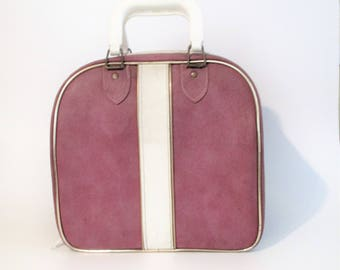 Mauve and White Bowling Ball Bag
