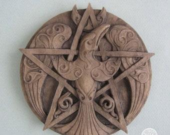 Raven Pentacle Plaque (Stone Color)
