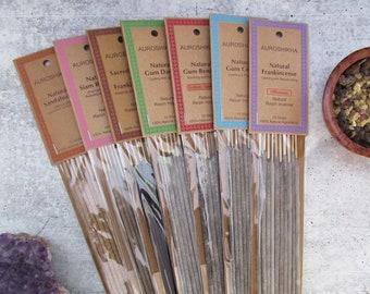 Auroshikha Natural Resin Incense Sticks - One Package of 10 Sticks (Choose Variety!)