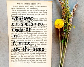 Stamped Vintage Book Page, Writer Gift, Wuthering Heights Quote, Emily Bronte Quote, Type Writer Font, Vintage Book Page, Vintage Wall Art