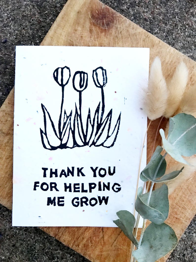 Teacher Card Thank You For Helping Me Grow Parents Card Etsy