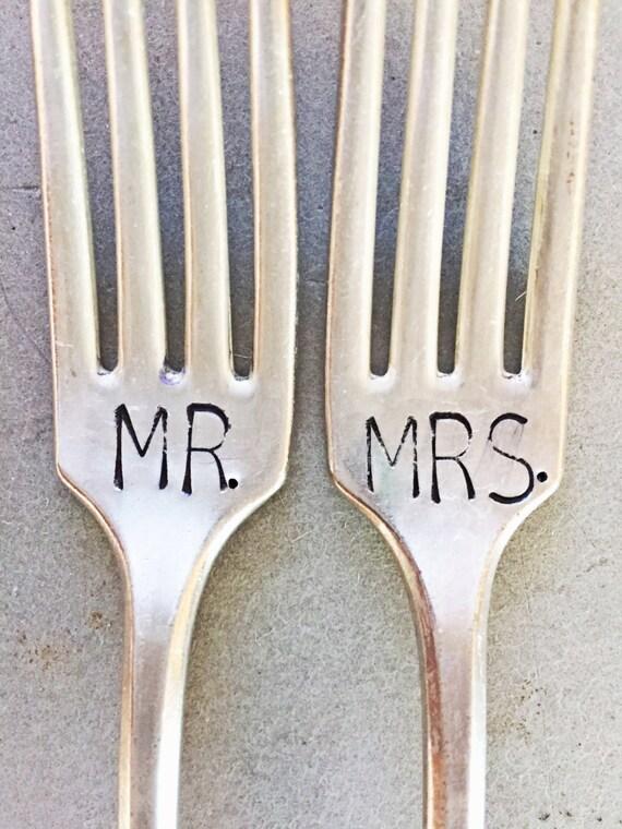 Mr and Mrs Forks, Stamped Forks, Stamped Silver, Wedding Gift, Bridal Shower Gift, Shower Gift, Mr. and Mrs. Set, Wedding Forks, Large Font