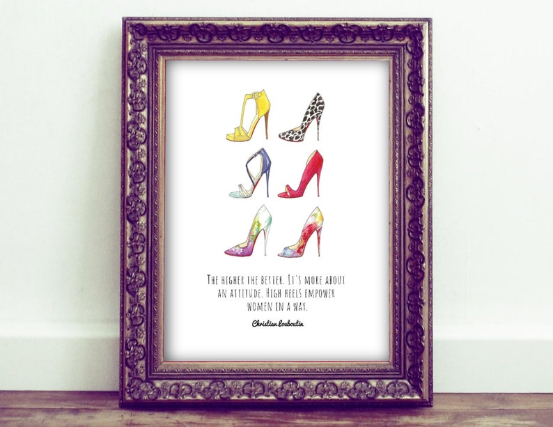 Designer Fashion Art watercolor louboutin shoes girls office bedroom wall print