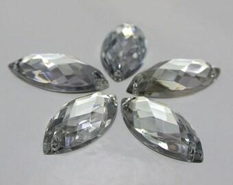 CraftbuddyUS 50pc 7x15mm SewOn Clear Oval Horse Eye Acrylc DiamanteCrystal Gems