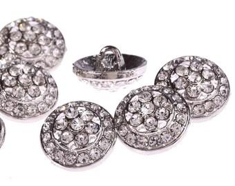 CraftbuddyUS DB10 22S 10pcs Diamante Faceted Crystal Silver Rhinestone  Buttons efdc77e5bb6c