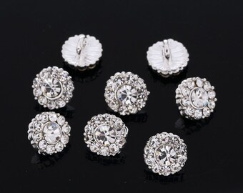 1 inch 10 Acrylic Faux Crystal diamond buttons 25mm silver plated back Bling