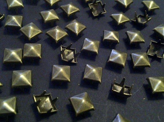 CraftbuddyUS 100 X 12mm Gold Square Pyramid Craft Studs Fashion Embellishment for Bag Shoe