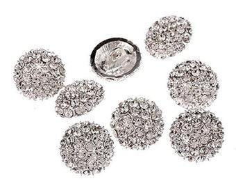 CraftbuddyUS DB18-17s 10pcs 17mm Diamante Faceted Crystal Buttons Silver Rhinestone