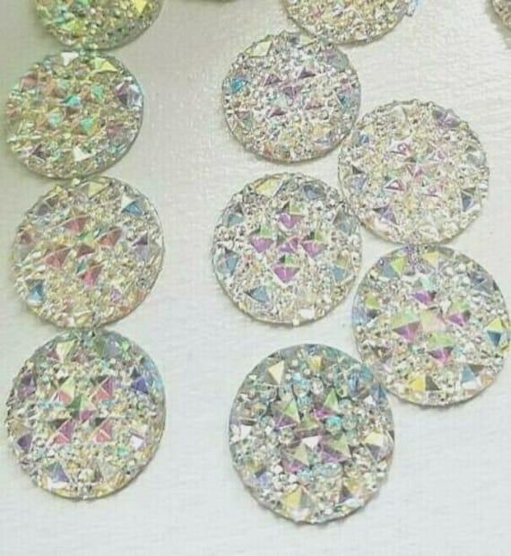 CraftbuddyUS 50 Mixed Stick on Resin Rhinestone AB Clear Snowflakes Gems Craft