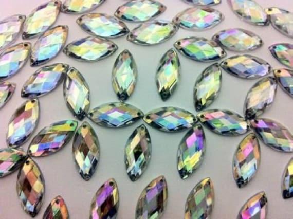 CraftbuddyUS 50 9x18mm Sew On AB Clear Oval Resin Diamnte Rhinestone Crystal Gem