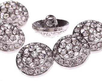 CraftbuddyUS DB10-18S 10pcs Crystal Diamante Faceted Silver Rhinestone  Buttons