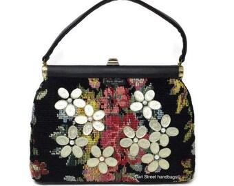 Cari Street handbags - Needlepoint Handbag - Tapestry Handbag - Carpet Bag - Designer Handbag - Embellished Handbag - Vegan Bag