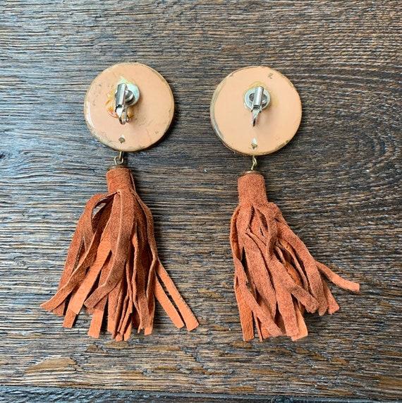 Vintage Burnt Orange Suede Tassel Clip-on Earrings - image 2