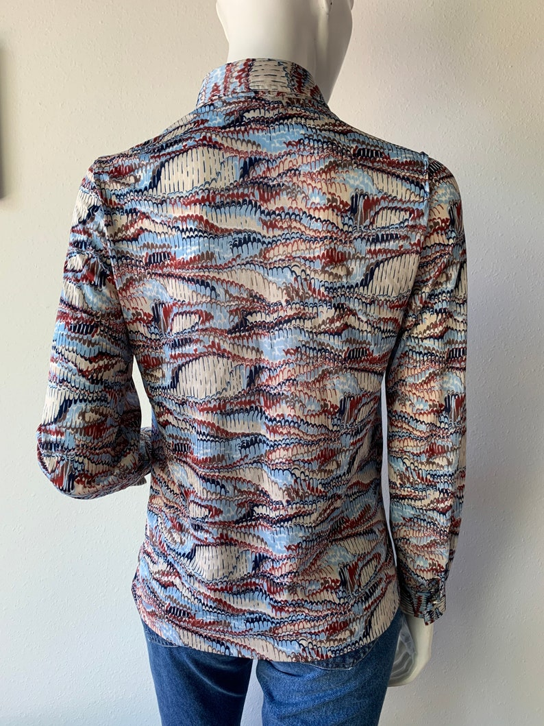 70s Blouse Vintage 1970\u2019s Rust Navy Baby Blue Printed Long Sleeve Shirt Extra Small XS