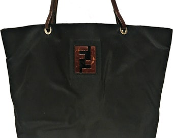 6360267979 Authentic Vintage Fendi Black Nylon Handbag Genuine FF Logos Tote Shoulder  Bag