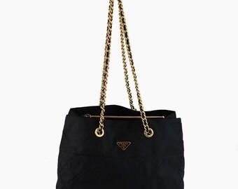 5c54c4adc Authentic Prada Black Nylon Shoulder handbag Gold Chain Tote Bag