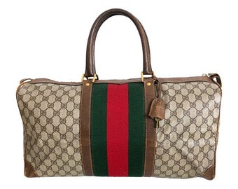 dead8fa657 Authentic Gucci Vintage Weekend Duffle Travel Bag