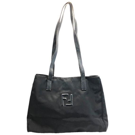 b0f50d5e111 Authentic Fendi Black Nylon Vintage Big tote Shoulde bag   Etsy