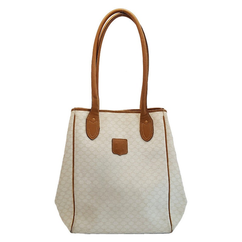 fc3b032214 Authentic Celina Macadam Pattern Shoulder Tote Bag Beige PVC
