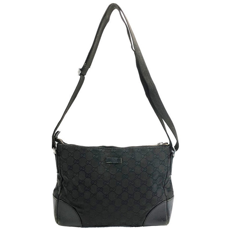b6d519a034 Authentic Vintage Gucci GG monogram Canvas Black shoulder bag