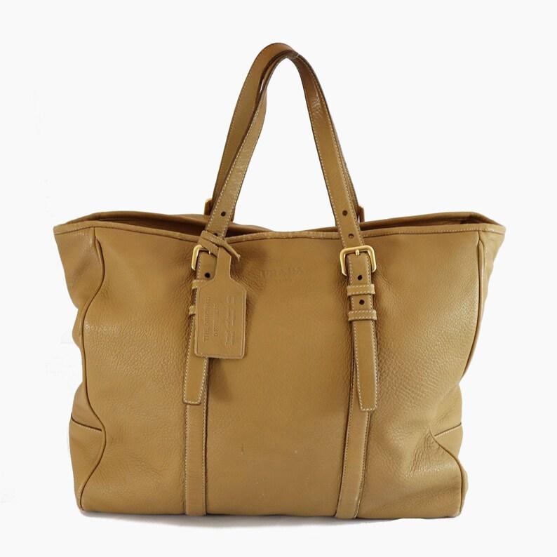 8f487d6c999301 Prada CERVO LUX Leather Beige Big tote Shoulder bag Deerskin | Etsy