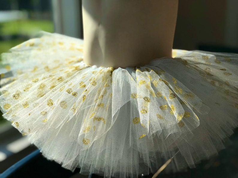 Special Occasion Birthday Holiday Christmas White Tutu with Gold Sparkling Polka-Dots