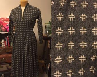 1950's wool handmade grey dress