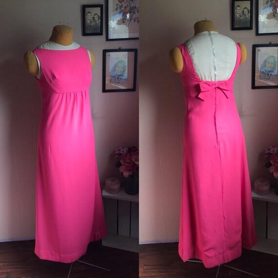 Vintage 1960's Coral Pink Low Back Cocktail Dress