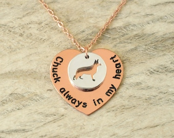 Personalized German Shepherd necklace Pet Memorial Gift Dog Lover Gift dog charm dog necklace Always in my heart